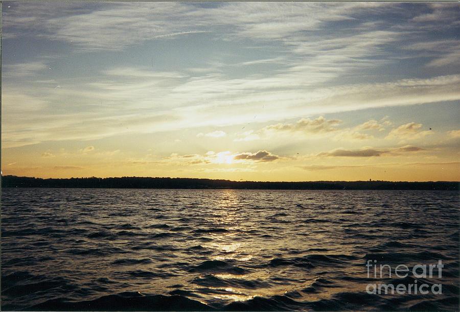 Yellow Sunrise In Manhassett Bay Photograph - Yellow Sunrise In Manhassett Bay by John Telfer