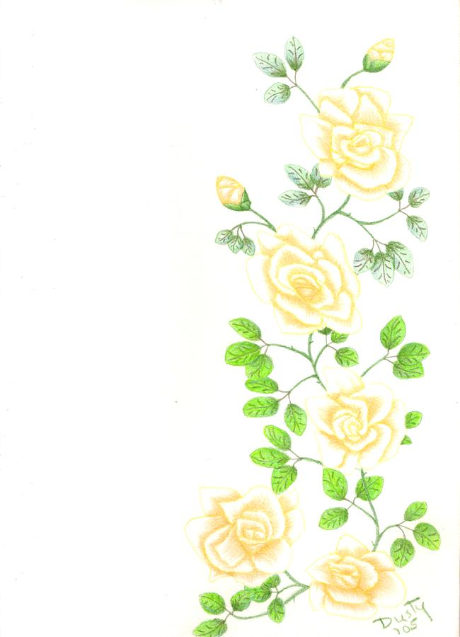Rose Drawing - Yellow Trailing by Dusty Reed
