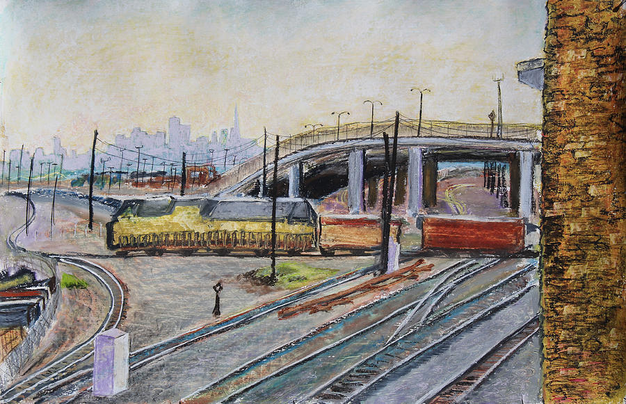 Oil Pastel On Paper Painting Pastel - Yellow Train And San Francisco Skyline by Asha Carolyn Young