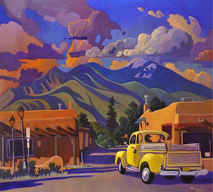 Taos Painting - A Yellow Truck in Taos by Art West