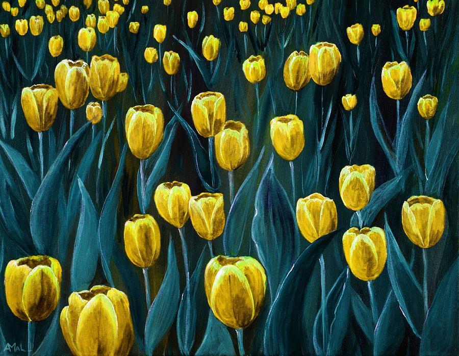 May Painting - Yellow Tulip Field by Anastasiya Malakhova