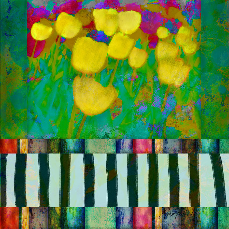 Tulips Mixed Media - Yellow Tulips Abstract Art by Ann Powell