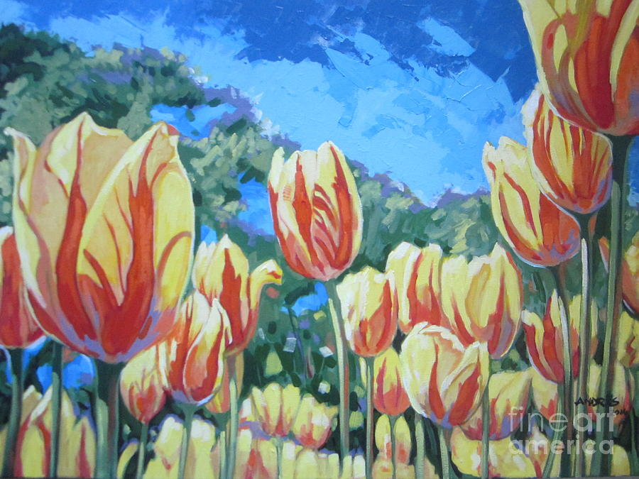 Yellow Tulips Painting by Andrei Attila Mezei