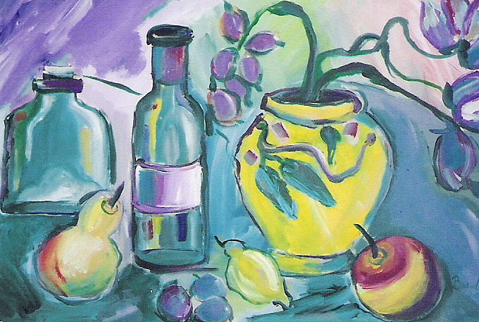 Still Life Painting - Yellow Vase And Bottles  by Brenda Ruark