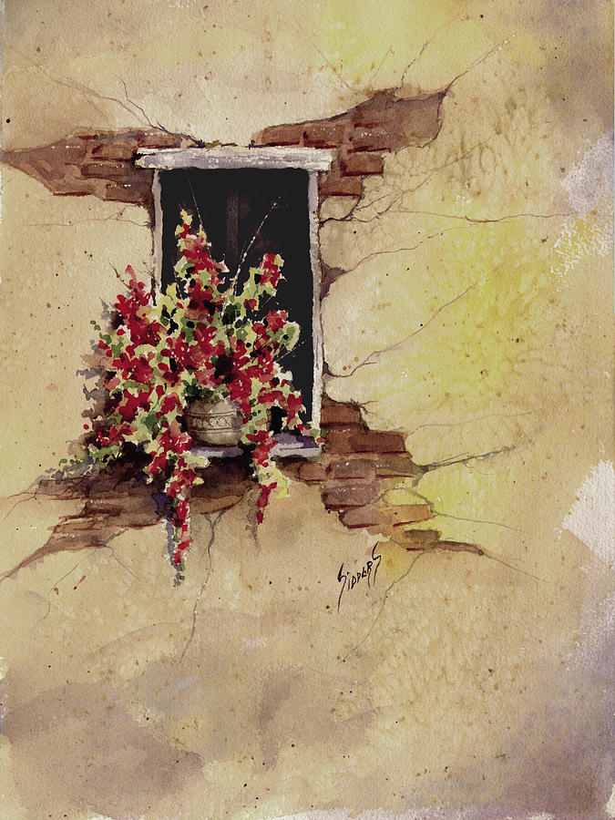 Flower Painting - Yellow Wall With Red Flowers by Sam Sidders