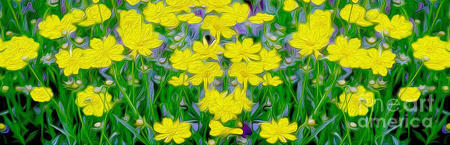 Daisies Mixed Media - Yellow Wild Flowers by Jon Neidert