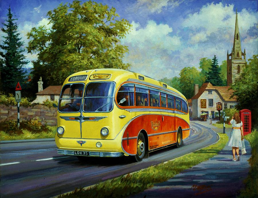 Coach Painting - Yelloways Seagull Coach. by Mike Jeffries