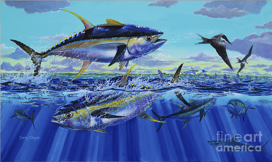 Yellowfin Tuna Painting - Yellowfin Bust Off0083 by Carey Chen