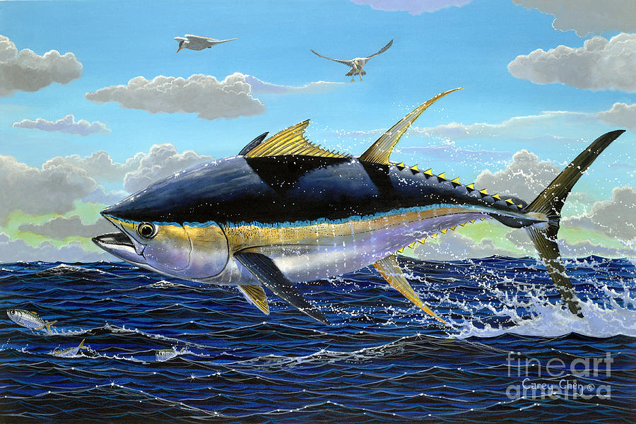 Tuna Painting - Yellowfin Crash Off0081 by Carey Chen
