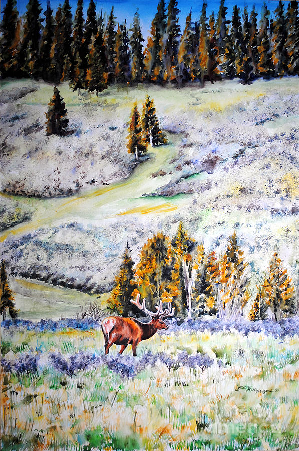 Yellowstone Elk Painting - Yellowstone Elk by Tracy Rose Moyers