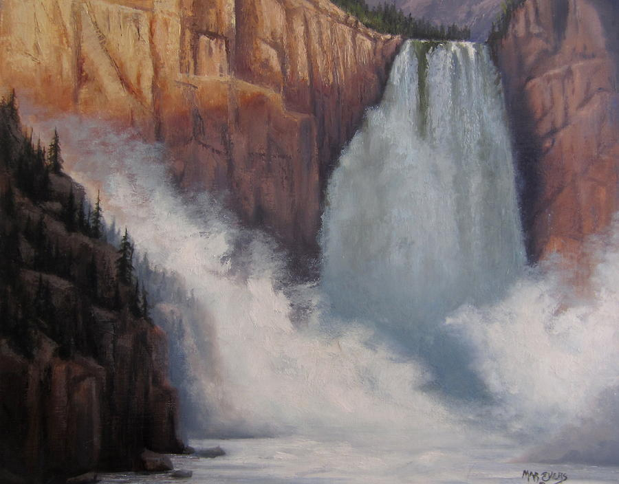 Yellowstone Painting - Yellowstone Falls Thunder by Mar Evers