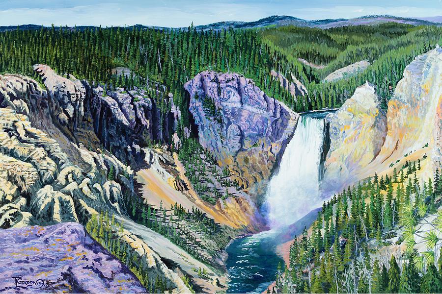 Tim Gordon Painting - Yellowstone Falls by Timithy L Gordon