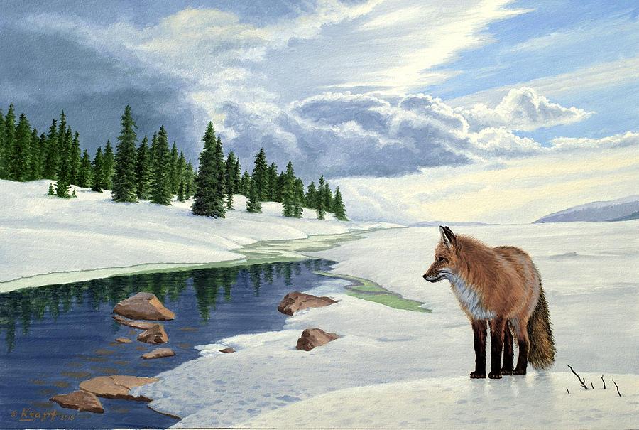 Fox Painting - Yellowstone Fox by Paul Krapf
