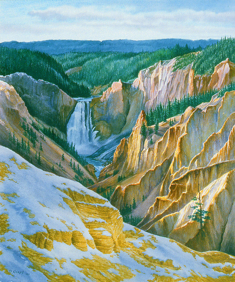 Landscape Painting - Yellowstone Grand Canyon - November by Paul Krapf