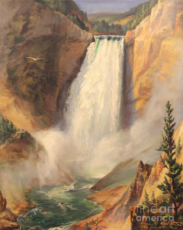 Yellowstone Lower Falls 1954 - Wyoming  by Art By Tolpo Collection