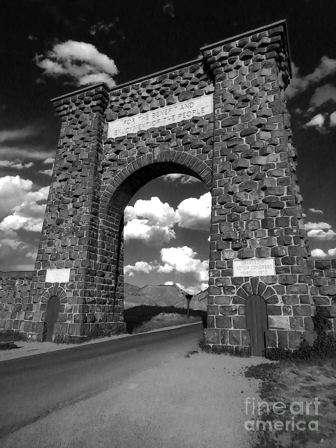 Yellowstone Photograph - Yellowstone National Park Gate - Black And White by Gregory Dyer