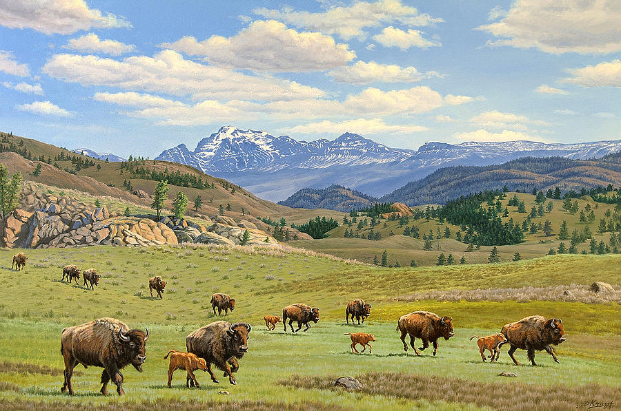 Wildlife Painting - Yellowstone Spring by Paul Krapf