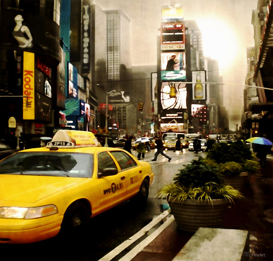 New York Photograph - Yelow Cab At Time Square New York by Yvon van der Wijk