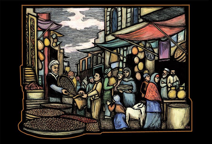 Coffee Jewelry - Yemeni market by Ricardo Levins Morales
