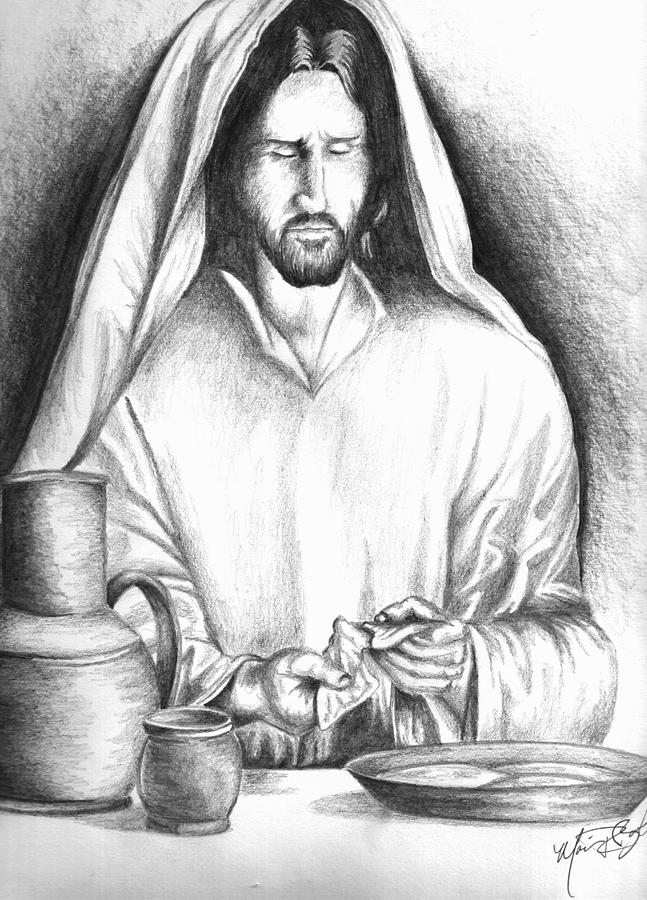 Barham Drawing - Yeshua Breaking Bread by Marvin Barham