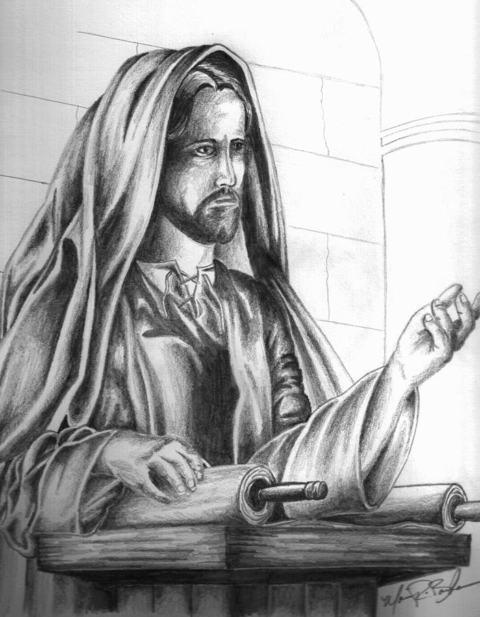 Rvin Drawing - Yeshua In The Temple by Marvin Barham