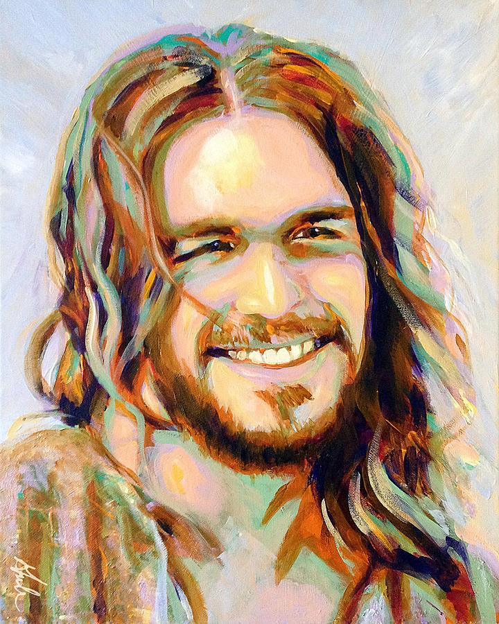 Smiling Jesus Painting - Yeshua by Steve Gamba