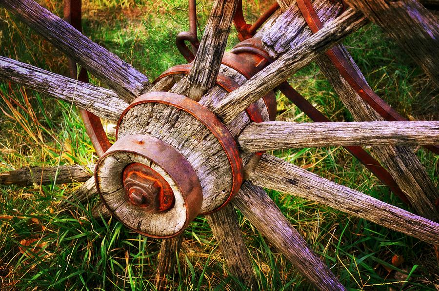 Wagon Wheel Photograph - Yesterdays Wheel by Marty Koch