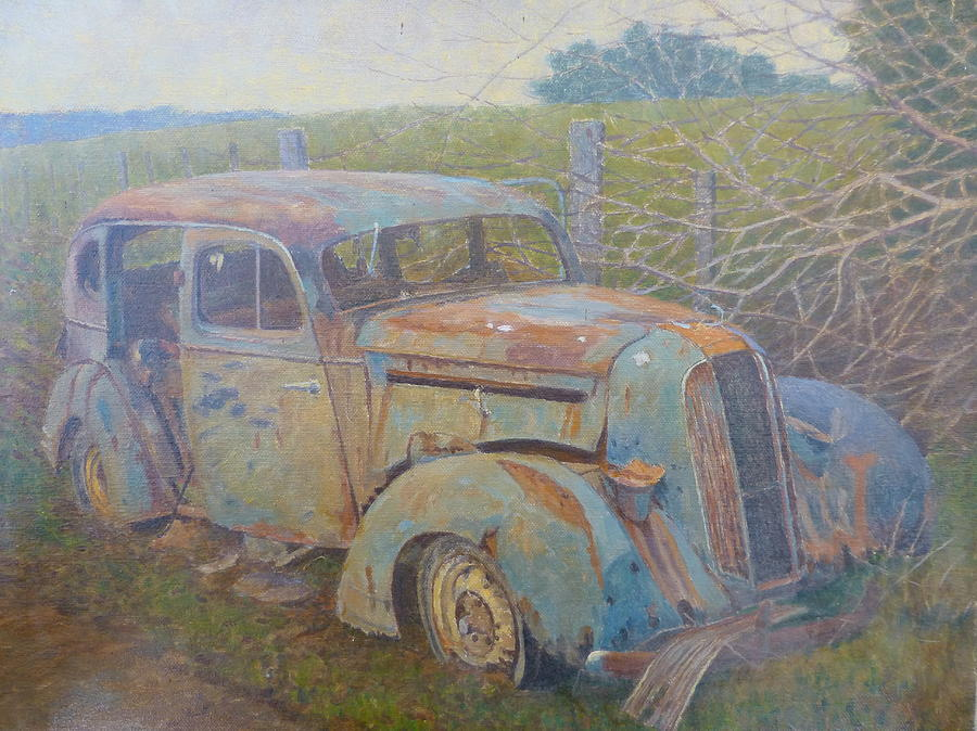 Cars Painting - Yesteryear Catlins 1980s by Terry Perham