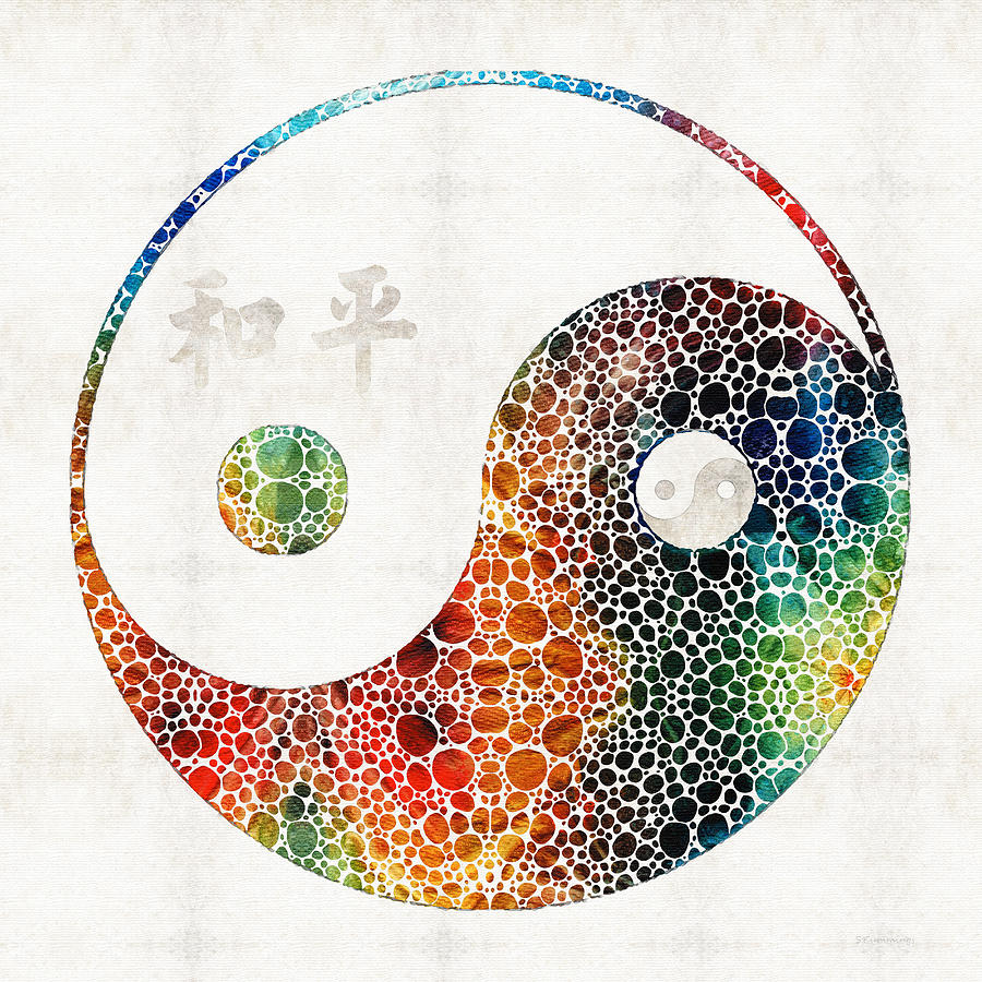Yin Painting - Yin And Yang - Colorful Peace - By Sharon Cummings by Sharon Cummings