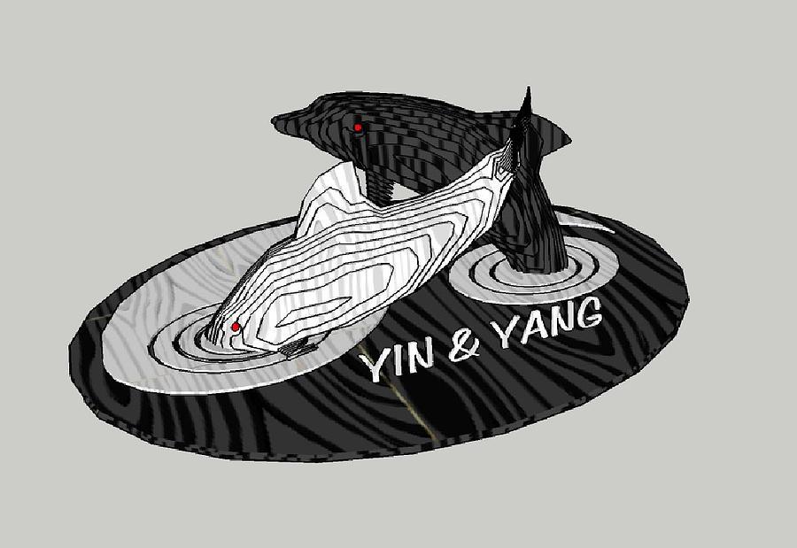 Layers Sculpturing Sculpture - Yin And Yang by Motti Inbar