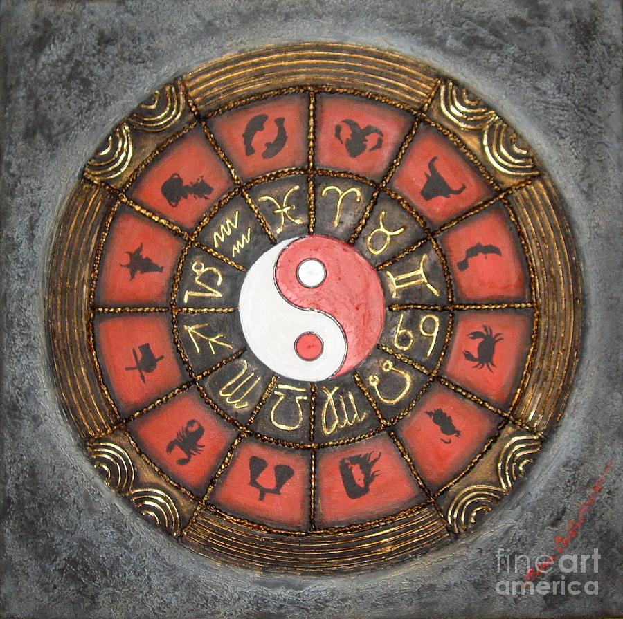 Horoscope Painting - Yin Yang Horoscope by Elena  Constantinescu