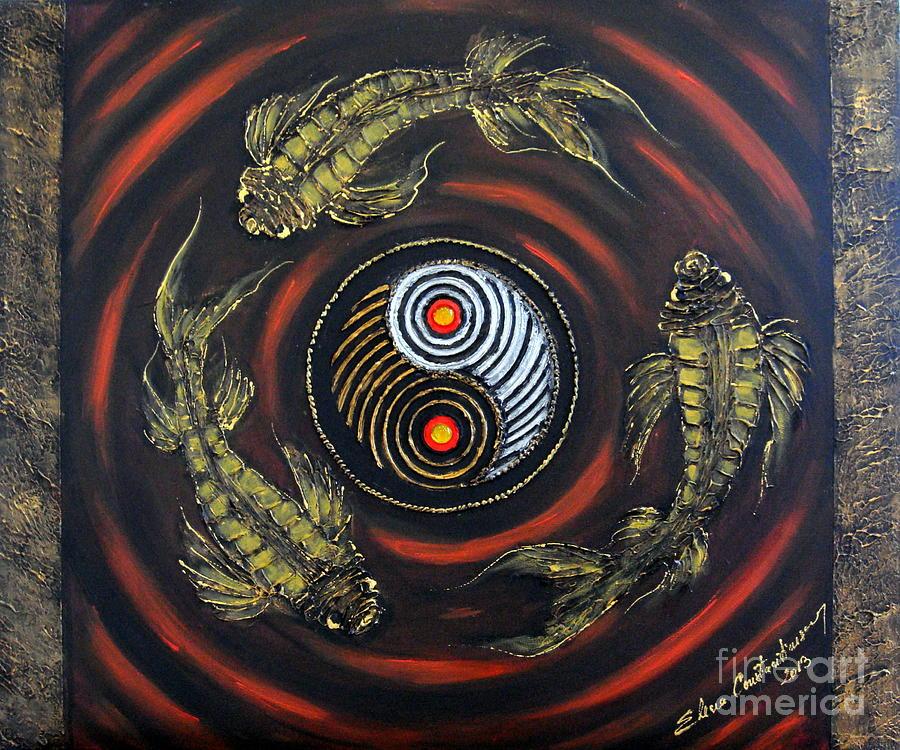 Koi Fish Painting - Yin Yang - Koi Fish by Elena  Constantinescu