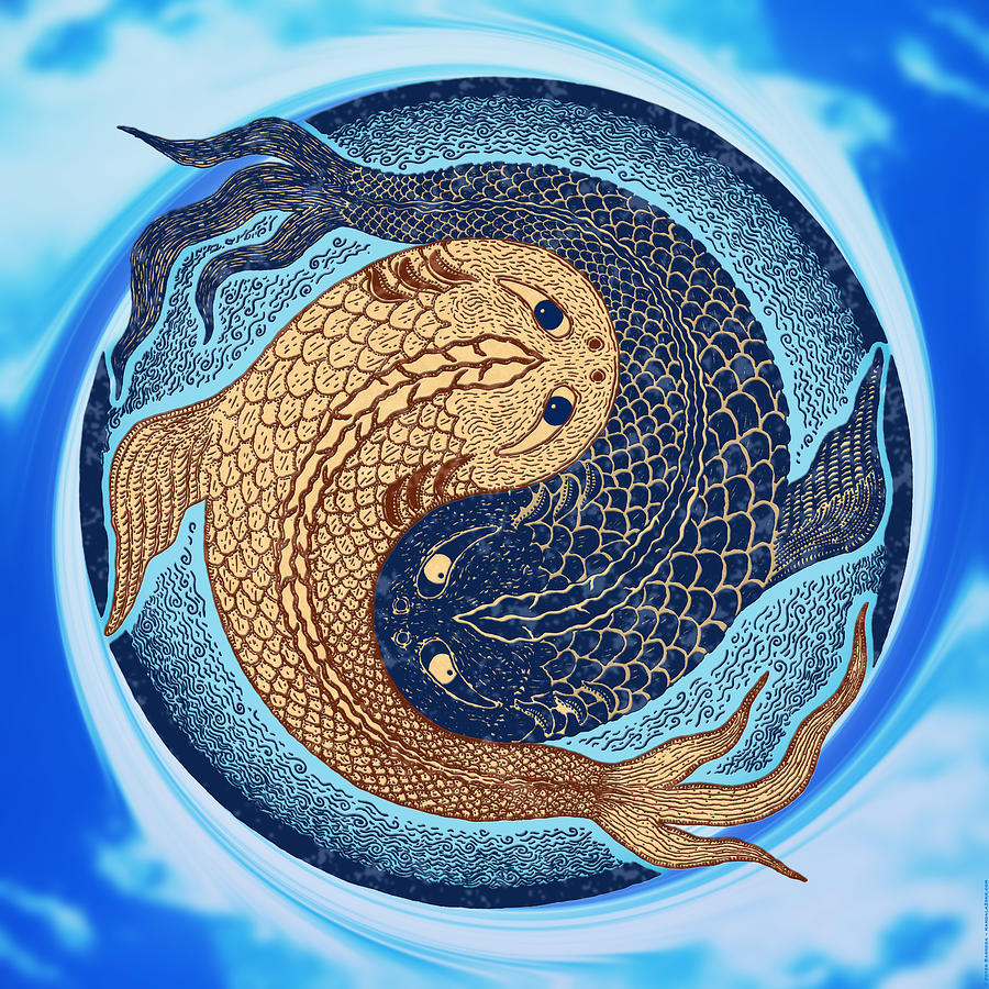 yin yang koi fish mandala digital art by peter barreda. Black Bedroom Furniture Sets. Home Design Ideas