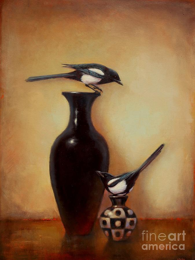Black And White Painting - Yin Yang - Magpies  by Lori  McNee