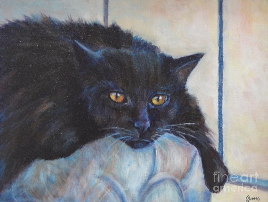 Black Cat Painting - Yoda by Jana Baker