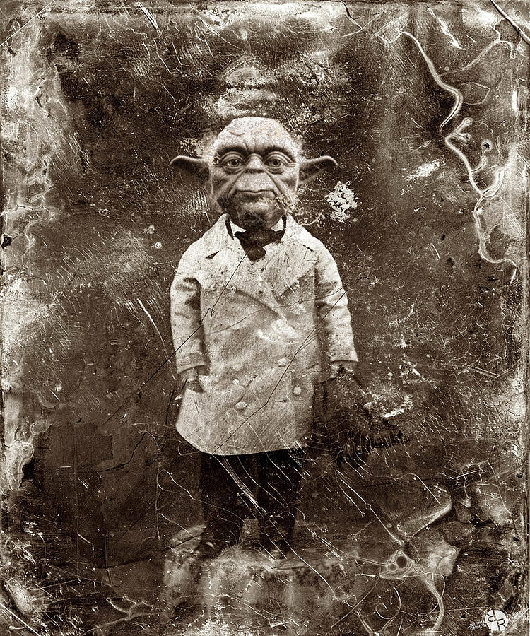 Yoda Star Wars Antique Photo Painting