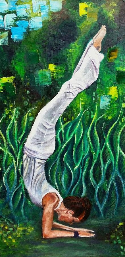 Yoga Asana Ardha Vrishchikasana Half Scorpion Pose Painting By