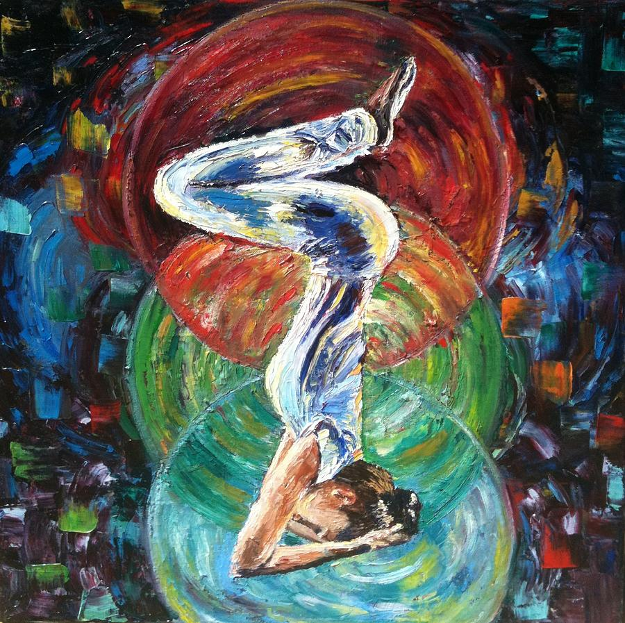 Yoga pose painting yoga asana by mila kronik