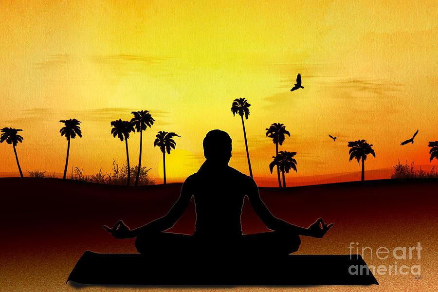 Yoga Digital Art - Yoga At Sunrise by Bedros Awak