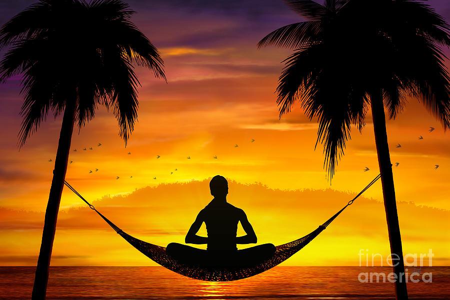 Yoga Digital Art - Yoga At Sunset by Bedros Awak