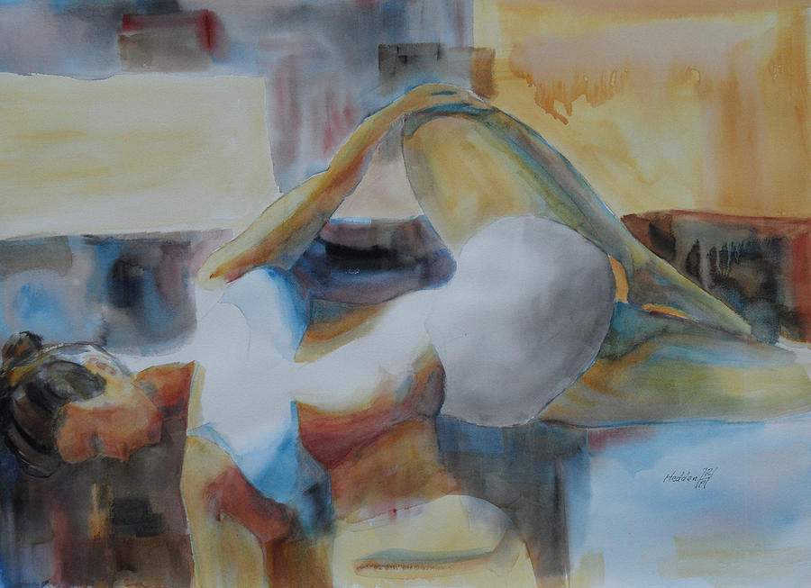 Yoga Bent Over Knee Twist Painting By Robert P Hedden