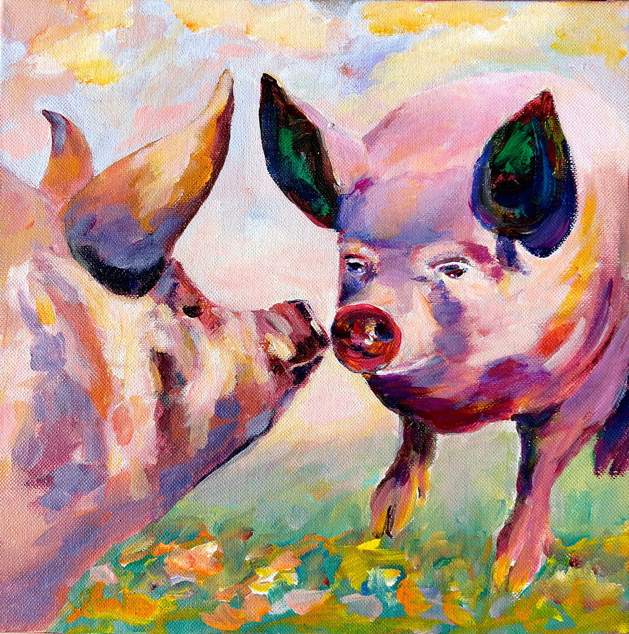 Hogs Painting - Yoga is Our Sport by Naomi Gerrard