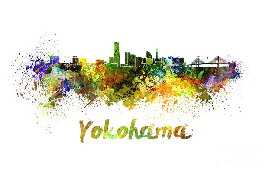 Yokohama Skyline In Watercolor Painting