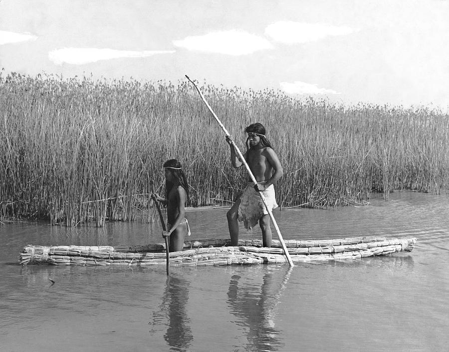 Yokuts Poling Tule Boats Photograph by Underwood Archives Onia