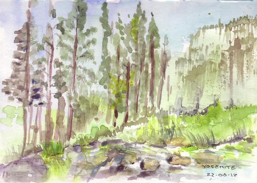 Yosemite Painting - Yosemite Camp by David  Hawkins