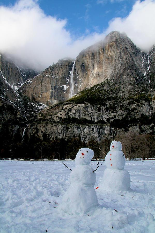 Yosemite Photograph - Yosemite Falls Snowmen by Patricia Sanders