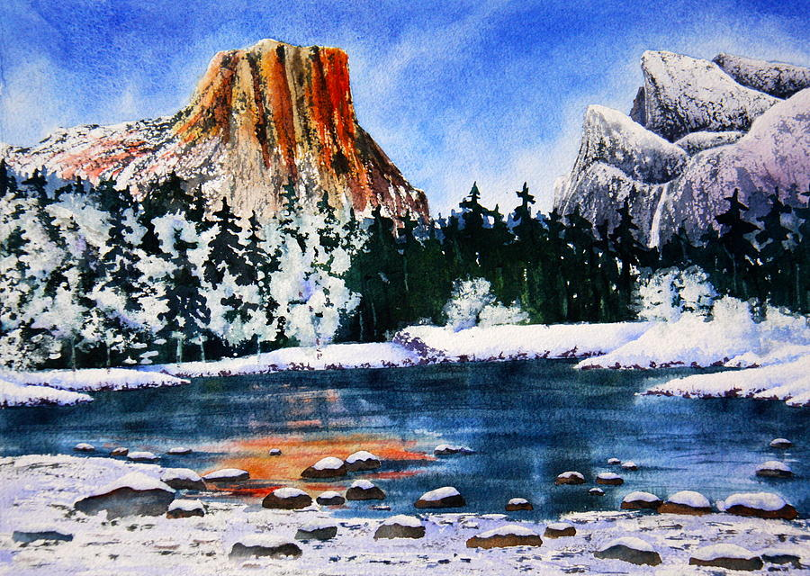 Yosemite Painting - Yosemite In Winter II by Eva Nichols