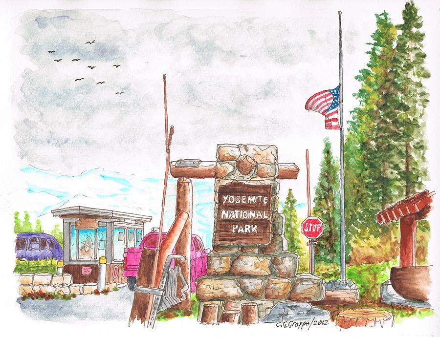 Yosemite National Park Painting - Yosemite National Park Ca-tioga Pass Entrance by Carlos G Groppa
