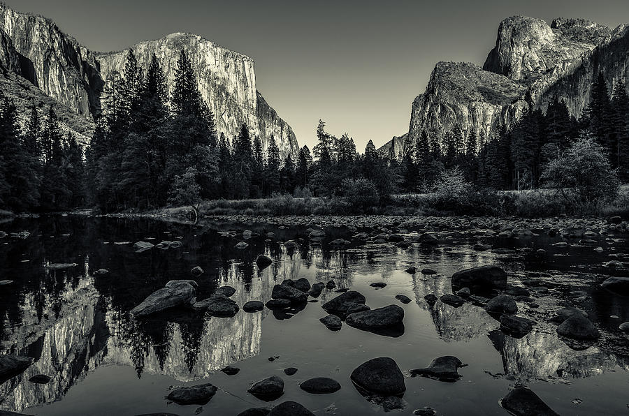 Ansel adams photograph yosemite national park valley view reflection by scott mcguire