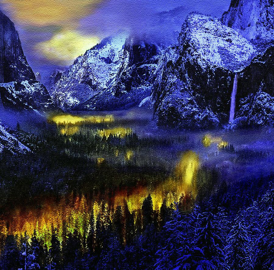 Ahwahnee Photograph - Yosemite Valley At Night by Bob and Nadine Johnston